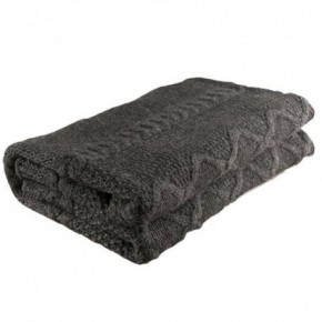 Nord Snow Diamond Aran Style Merino Wool Blanket - Dark