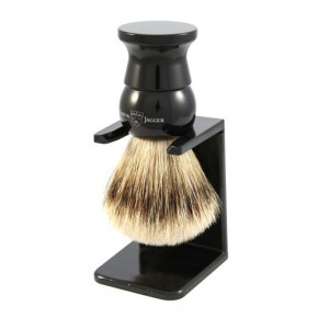 Edwin Jagger English Imitation Ebony Super Badger Shaving Brush with Stand
