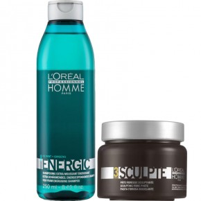 L'Oréal Professionnel Set: Homme Energic Shampoo And Hair Paste 250ml+150ml