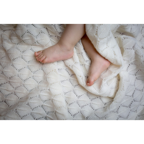 Nord Snow Leaves style Merino Wool Blanket for baby