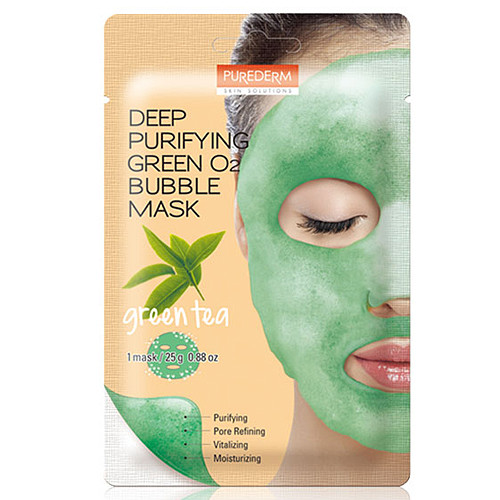 Purederm Deep Purifying Green O2 Bubble Mask 25g