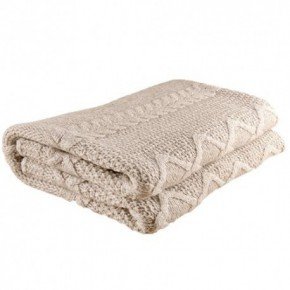 Nord Snow Diamond Aran Style Merino Wool Blanket - Light